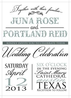 custom printable wedding invitation