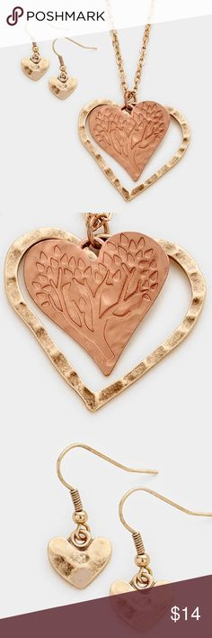 """Double Heart Necklace Set • Color : Matte Copper, Rose Gold Burnished • Theme : Heart, Tree of Life  • Necklace Size : 23"""" + 3"""" L • Pendant Size : 1.75"""" X 1.75"""" • Earrings Size : 1"""" L • Double heart tree of life pendant necklace Jewelry Necklaces"""