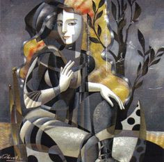 Artist: Oleg Zhivetin, Title: Waiting for the Winter Art Gallery, Colorful Art, Cubism Art, Art Basics, Surreal Art, Lovers Art, Figurative Art, Sacred Art, Unusual Art