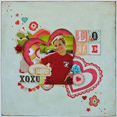 heart scrapbook layout