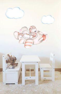 Decoración infantil Il Mondo di Alex, Vinilos - Stickers efecto pintado a mano, AVIONETA... personalizado con nombre y a medida.