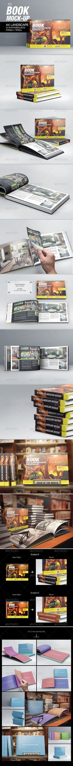 MyBook Landscape Mock-Up Book Mockup Template by kenoric. Graphic Design Templates, Print Templates, Magazine Cover Page, Cover Page Template, Mockup Photoshop, Up Book, Studio Shoot, Best Graphics, Cover Pages