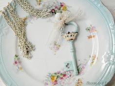 Shabby key necklace / key necklace / skeleton key / shabby chic / crown necklace / vintage lace / mixed media / repurposed necklace / ooak by EleanorandLorena on Etsy