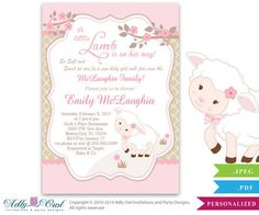 ADLY Invitations and Digital Party Designs - Little Lamb Girl Baby Shower Invitation for a New Baby Girl, Printable Sheep/Lamb Card for a baby shower,pink, brown, polka , $14.00 (http://www.adlybabyshower.com/little-lamb-girl-baby-shower-invitation-for-a-new-baby-girl-printable-sheep-lamb-card-for-a-baby-shower-pink-brown-polka/)