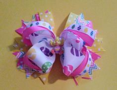 Easter Hair bow, Easter Chick hair bow, Easter bow, Easter Egg Hair Bow, Polka Dot Easter Hair bow, Easter, Happy Easter by BakersgirlBowtique on Etsy