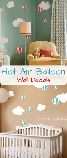 I'm obsessed with hot air balloons. They make such cute wall decoration! Hot air balloon with Clouds Decal Set - Kids vinyl Wall Sticker #nursery #ad #hotairballoon