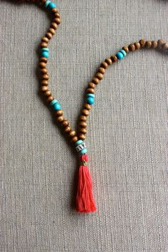 Coral Skies Beaded Tassel Necklace by shopjustpeachy on Etsy, $22.00