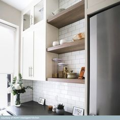 Byzantine Bianco Ceramic Tile Using a subway tile as a back splash will add some dimension and style to your kitchen decor or any decorated room i Old Kitchen Tables, Kitchen Buffet, Red Kitchen, Kitchen Shelves, Kitchen Backsplash, Kitchen Decor, Kitchen Ideas, Glass Shelves, Ranch Kitchen