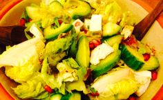 Avocado, tarragon, cucumber and Pomegranate Seeds