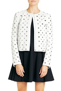 DVF | Kate Leather Jacket In Chalk, Spring 2013: Palazzo laser cut