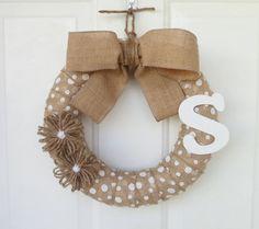 Burlap Wreath - Initial Wreath - Everyday Wreath - White Polka-Dot Wreath - 12-Inch Wreath w/Jute Flowers and White Initial - Outdoor Wreath