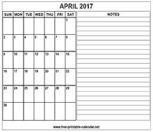 printable 2017 april calendar