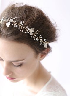 Crystal sparkle hair vine - Style # 408 - Ready to Ship (2014, best sellers, crystal headpiece, hair adornments, hair vine, hair vines, headpieces, ready to ship, twigs and honey, view all) | Headpieces | Twigs & Honey ®, LLC