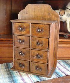 Primitive Antique 8 Drawer Oak Spice Cabinet Box