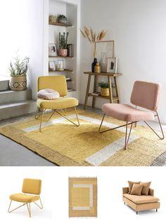 Un air sixties au salon avec un fauteuil rose poudrée pied épingle et une déco jaune Deco Retro, Decoration, Floor Chair, Diy, Flooring, Interior, Design, Inspiration, Furniture