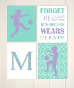 Teen Girl Wall Art girls sports art, soccer girl wall art, sisters shared room wall