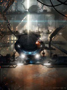 Boat Yard by Alwyn Talbot   Sci-Fi   2D   CGSociety    Worlds