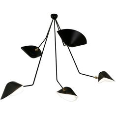 Serge Mouille 5 Angled Arm Spider Ceiling Lamp (931830 ALL) ❤ liked on Polyvore featuring home, lighting, ceiling lights, black lights, black light, black lamp, handmade lamps and onyx lamp