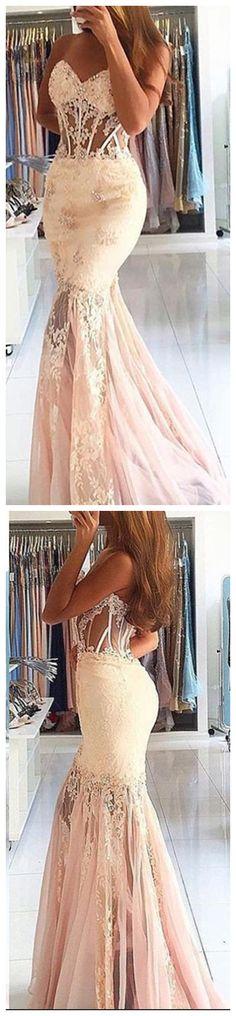 Appliques Lace Long Evening Dress Cheap Mermaid Sweetheart Stunning Prom Dress