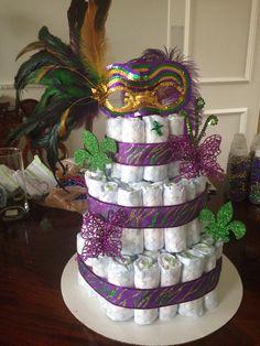 Mardi Gras baby shower diaper cake
