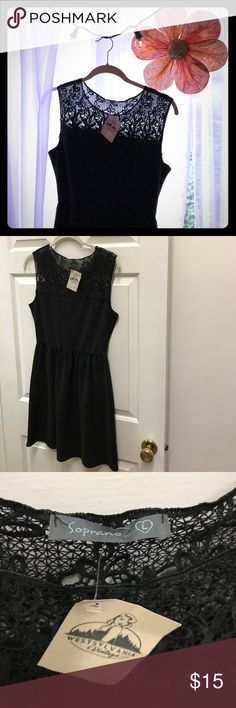 Black knit sleeveless skater-style dress 96% polyester 4% spandex : Size Large (but could also fit xl or medium) : stretchy, textured black material with lace detailing at the top : pre-owned, but in great condition! No signs of wear : purchased from a vintage boutique : Feel free to ask questions! 💋 Soprano Dresses Mini