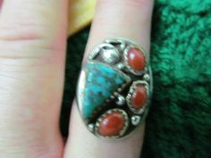 Vintage Sterling Turquoise/ coral ring marked
