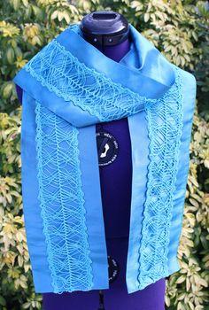 Loop Foulard écharpe étole pièces classique antique vintage bleu turquoise bleu