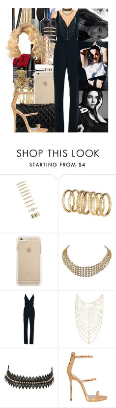 """""""jumpsuits-black-fancy-top-ariana-kendall-kylie-top-chic-gold-phone-night"""" by durrani ❤ liked on Polyvore featuring Forever 21, H&M, Classique, Van Cleef & Arpels, Valentino, Lana, Charlotte Russe, Giuseppe Zanotti, Elizabeth Cole and sleevelessjumpsuits"""