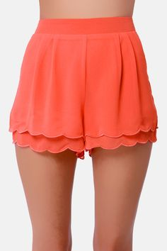 Scallop Poll Scalloped Coral Shorts