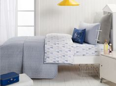 Cameron Single Coverlet Bedcover in Blue