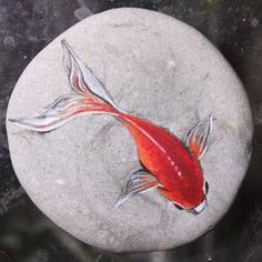 by AkihisaIwata on DeviantArt Koi Painting, Pebble Painting, Pebble Art, Stone Painting, Painted Rock Animals, Painted Rocks Craft, Hand Painted Rocks, Rock Painting Patterns, Rock Painting Ideas Easy