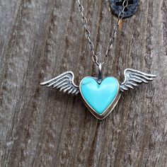 Silver Necklace Flying Turquoise Heart by ThirtySixTen on Etsy, $58.00