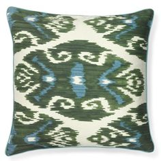 Silk Ikat With Piping Pillow Cover, Green #williamssonoma