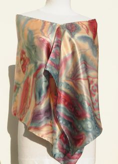 Satin Silk scarf in cream, gray, burgundy red colors. Hand painted floral luxury scarf. Classic large scarf for a cream or gray outfit . 100% pure natural silk charmeuse . Charmeuse silk is a satin backed crepe de chine . It is woven in a way to get two different sides : One is very shiny