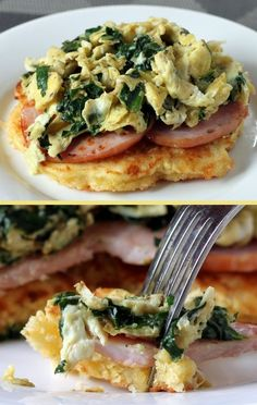 Corn Cake Breakfast Stack with Eggs Florentine - Give your day a tasty boost of protein & iron | TheYummyLife