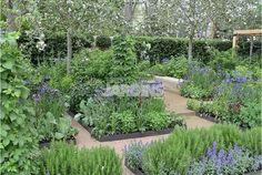 jardin potager en vert et bleu  Les plus beaux jardins du monde via Nat et nature