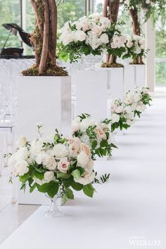 25 Ideas for garden wedding aisle decor magazines Church Wedding Flowers, Aisle Flowers, Church Wedding Decorations, Wedding Reception Decorations, Wedding Centerpieces, Wedding Ceremony, Tall Centerpiece, Wedding Backdrops, Ceremony Backdrop