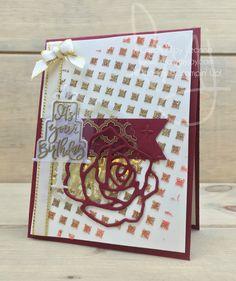 Glittered Rose Gold Birthday | Stampin\' Up! | Celebration Time | Milestone Moments #literallymyjyoy #thirty #birthday #rose #embossingpaste #heatembossing #FabulousFoilAcetate #gold #thirtieth #20172018AnnualCatalog