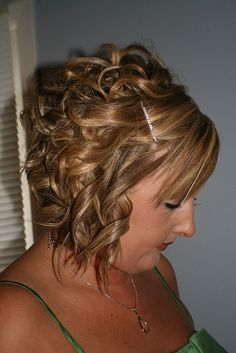 Short Wedding Hair.  Curls might be possible.  Hair may not be long enough