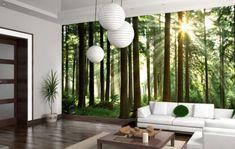 Ideen Wanddeko Mit Fototapeten Wald Wohnzimmer Natur