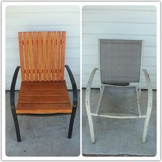 It's easy to give new life to an old patio chair by adding wood and paint. You can drill directly into the metal frame too. I was going to throw away the chair, but I am so glad I didn't. Patio Furniture Makeover, Diy Outdoor Furniture, Diy Furniture Projects, Refurbished Furniture, Repurposed Furniture, Furniture Layout, Furniture Design, Patio Chairs, Metal Outdoor Chairs