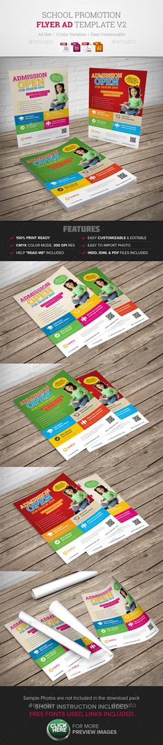 School Promotion Flyer Ad v2 — Vector EPS #flyer #business • Available here → https://graphicriver.net/item/school-promotion-flyer-ad-v2-/9952771?ref=pxcr