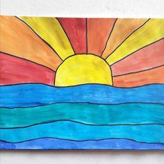 """""""KALTE UND WARME FARBEN"""" Farbtheorie in der Grundschule mit dem Bild """"Sonnenuntergang über dem Meer"""" Mit diesem Bild kann man sowohl ein wenig Farbtheorie vermitteln als auch die reine Farbgebung üben. Ich habe es mit Erstklässlern gemalt und ich mag es besonders, weil JEDES Kind ein schönes Ergebnis erzielt. Hier ist der Schritt-für-Schritt-Leitfaden für das Malen art #articles #..."""