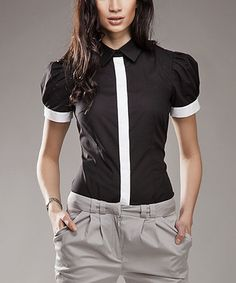 Loving this Black & White Contrast Button-Up Top on #zulily! #zulilyfinds