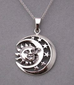 925 Sterling Silver Sun Moon Stars Pendant Necklace Celestial New #unbranded #Pendant