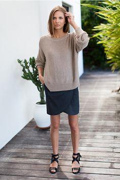 Carolyn Sweater - Cork / Portia Skirt - Slate / Tie Sandal - Black