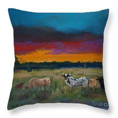 "Cattle's Cadence Throw Pillow 14"" x 14"""