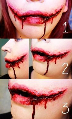 Horrible bloody tearing mouth joker face makeup tutorial - scars, clown, 2015 Halloween - LoveItSoMuch.com