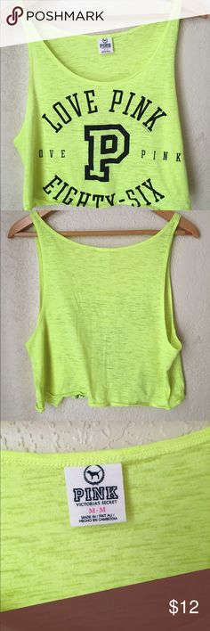 VS Pink Neon Tank , M Love Pink Eighty Six VS Pink neon yellow Love Pink 86 , Tank top , size M, , bottom left ( shown right in pic ,) small black print spot ,) still cute. PINK Victoria's Secret Tops Tank Tops