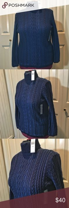 """Blue Turtleneck Winter blues! Brand Eight. Blue turtleneck, NWT, never worn, no stains, no tears, no blemishes. Length 28"""", sleeves 23.5"""", bust 22"""". 100% cotton. Eight Sweaters Cowl & Turtlenecks"""